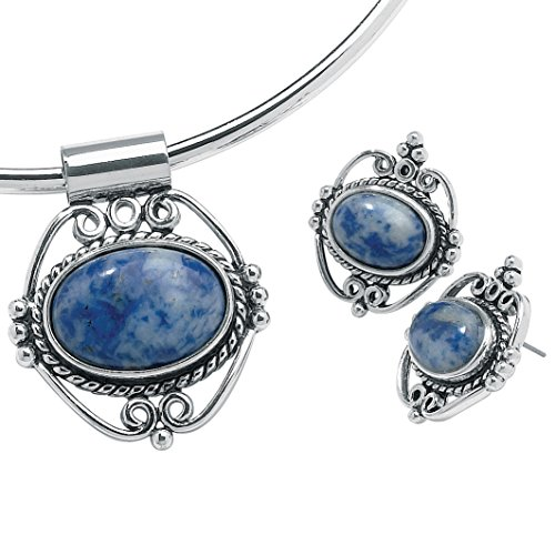 Lapis Lazuli Locket (Oval Simulated Blue Lapis Antiqued Silvertone Pendant and Earrings Set 16