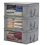 lightning moment Storage Bag Organizers, Large Clear Window & Carry Handles, Great for Clothes, Blankets, Closets, Bedrooms, and more(3-P)