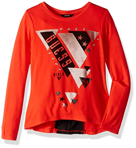Guess Girls' Big Danielle Long Sleeve Graphic Hi-lo T-Shirt, Beat red, 14 -