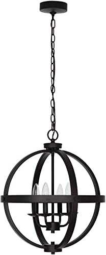 Catalina Lighting 21923-000 Smart Home, Alexa Enabled Metal 4-Light Orb Chandelier Pendant, 18.25 , Dark Bronze