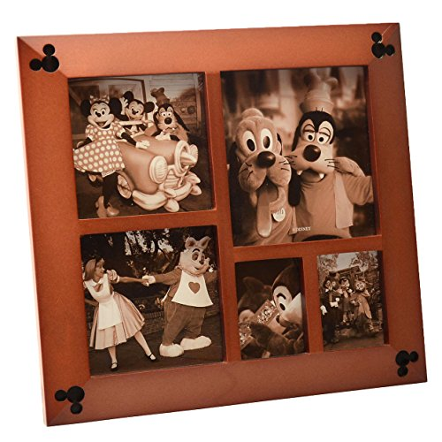 Disney Parks Exclusive Beveled Mickey Icon 5 Multi-Square Cherry Wood Picture Photo -