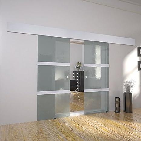 Interno moderno sistema a doppia porta scorrevole in vetro: Amazon ...