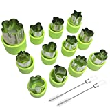 12 Pcs Fruit Cookie Vegetable Cutter Shape Set for Kids Salad, AFUNTA Cartoon Animal/Flower/Star/Heart Shaped Mold Decorative Food Cutter Stamps for Toddler, with 2 Pcs Cleaning Brushes