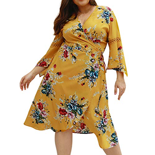 CCatyam Plus Size Dresses for Women, Skirt V-Neck Flare Sleeve Print Sexy Loose Party Casual Fashion Yellow ()
