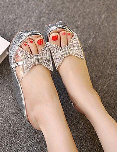 LFNLYX Zapatos de mujer-Tacón Cuña-Cuñas / Plataforma / Punta Abierta-Sandalias-Vestido-Sintético-Negro / Plata Black