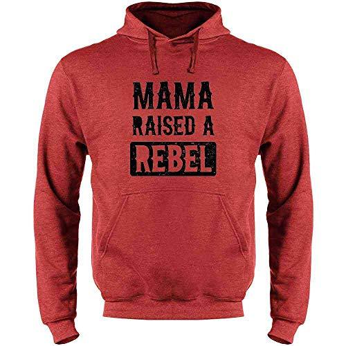 Mama Raised A Rebel Heather Red XL Mens Fleece Hoodie Sweatshirt