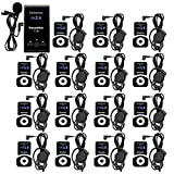 Retekess T130 99 Channel Wireless Tour Guide System Microphone Earphone Headset Church Translation System for Church Interpretation Wedding Training Court (1 Transmitter and 15 Receivers)
