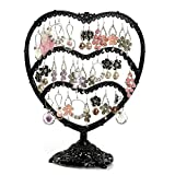 Zxhuapy Jewelry Box for Women, Women's Heart Shaped Earring Holder 3 Layers 58 Holes Jewelry Tree Oraganizer Stand Display Rack Gift Home Decorations Organizer Display Storage case (Color : Black)