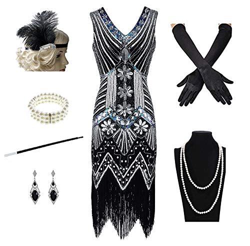 1920s Women's Gatsby Costume Flapper Dresses V