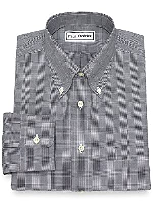 Paul Fredrick Men's Non-Iron Cotton Glen Plaid Dress Shirt