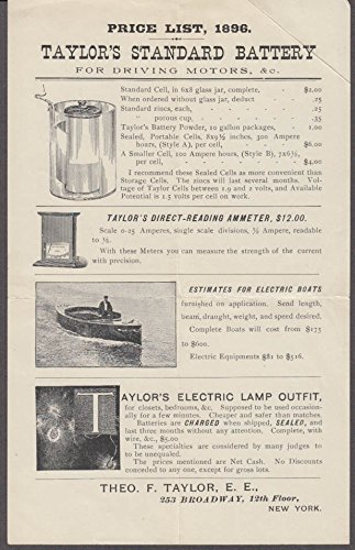Electrical Ammeter - Taylor's Motor Battery Ammeter Electric Boat & Map price list sheet 1896