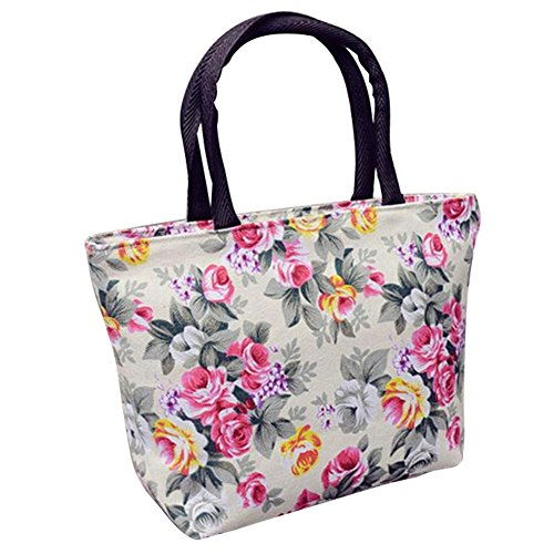 meizu88 Women Rose Flower Canvas Small Zipper Shopping Handbag Tote Shoulder Bag White