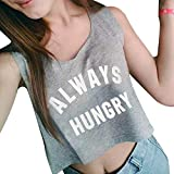 ✔ Hypothesis_X ☎ Letter Sleeveless Camisole top for Women 24 Solid Color Fashion Lumbar Belly Sling Vest Top Gray