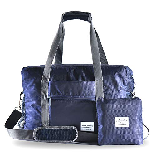 Arxus Travel Lightweight Waterproof Foldable Storage Carry Luggage Duffle Tote Bag (Navy Blue)