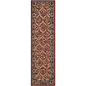 "Safavieh Anatolia Collection AN610A Handmade Red and Navy Wool Runner, 2 feet 3 inches by 12 feet (2'3"" x 12')"