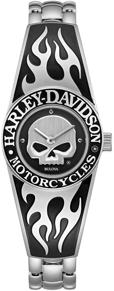 Harley-Davidson Womens Flames Willie G Skull Stainless Steel Bangle Watch 76L190