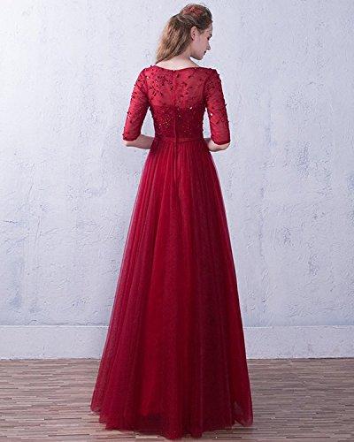 Festkleider Elegant ED1716 Damen Spitze Abendkleider Lang LuckyShe für Ärmeln mit Darkpurple Hochzeit Tüll n4YqfEqPw