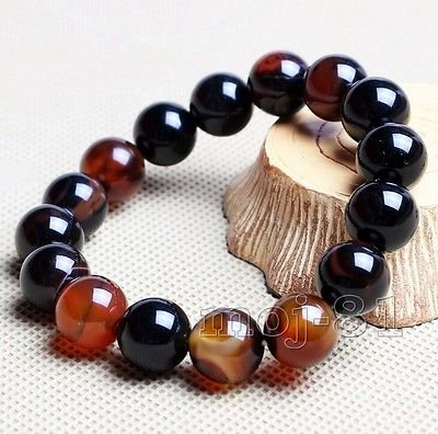Handmade Fashion Natural Brazilian Agate 10MM Beads Man Lucky Bracelet