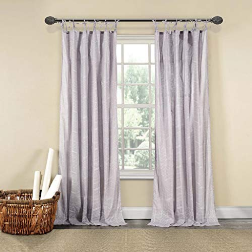 Home Maison - Noa 100% Cotton Chevron Stripe Tie top Window Curtains for Living Room & Bedroom - Assorted Colors - Set of 2 Panels (40 X 84 Inch - Silver)