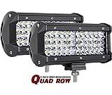 offroad quad - LED Pods, AutoPowerPlus 7'' 144W Cree LED Quad Row Off Road Light Bar Work Light Spot Beam LED Cubes Waterproof Driving Fog lights for Truck Jeep Boat ATV UTV, 2 Years Warranty