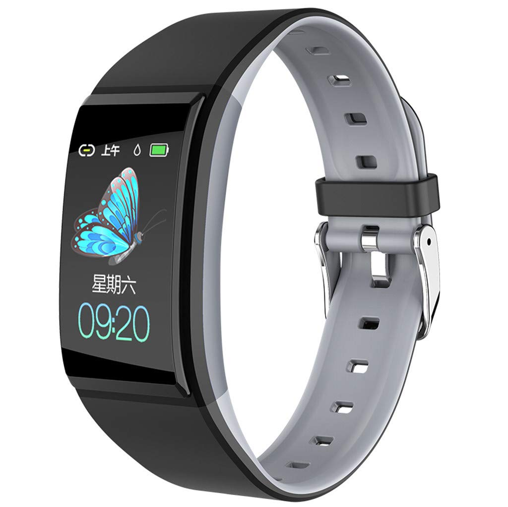 QUICATCH Bluetooth 4.0 Smart Watch Waterproof Sports Fitness Tracker Heart Rate Blood Pressure Monitoring Watch with 1.14 inch IPS Color Screen Gray
