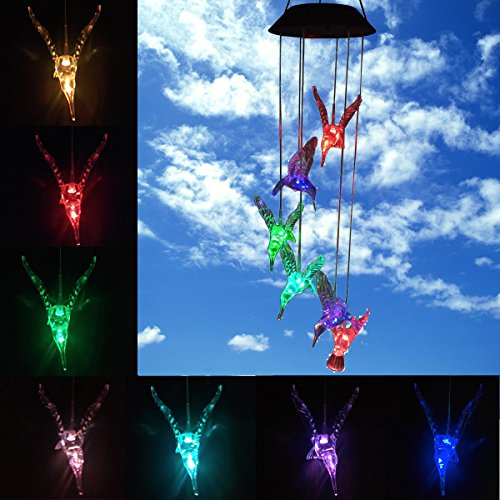 Color Changing Solar LED Mobile Wind Chime, Waterproof Six Hummingbird Wind Chimes For Home/ outdoor/ Party/ Night / Festival Decor/ Gift/ Garden Decoration