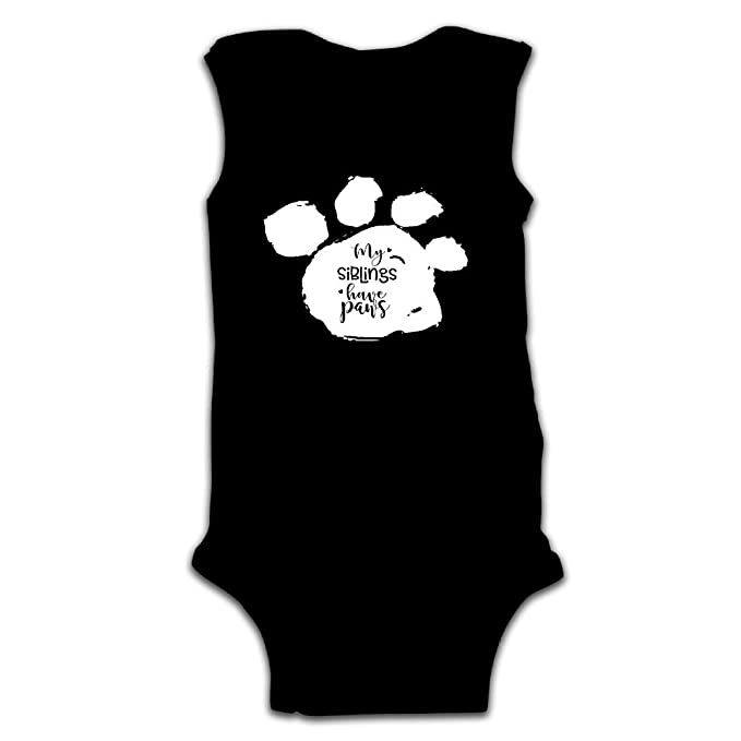 8f25ba670cc3 Kid Baby Boy Girl Popular My Siblings Have Paws Cotton Onesies Coveralls T  Shirts Black 6