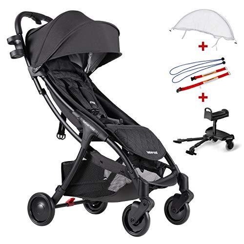 Compact Stroller 2020 Ultra Lightweight Baby Stroller + Baby Stroller Glider Board + Universal Mosquito Net + Universal Car Seat Adapter Dark Grey & White