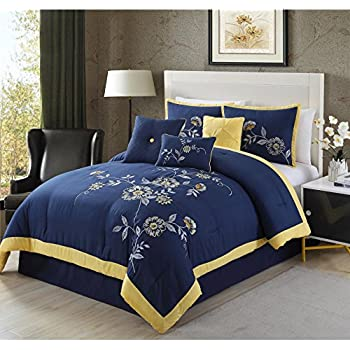 Amazoncom Jill Rosenwald Hampton Links Comforter Set Full Navy - Blue and yellow comforter sets king