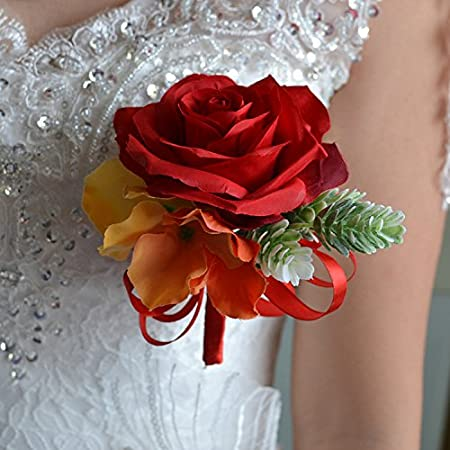 Abbie Home Real Touch Flowers Bouquets Rose Bridal Ribbon Crystal Decor Wedding Bouquet Red