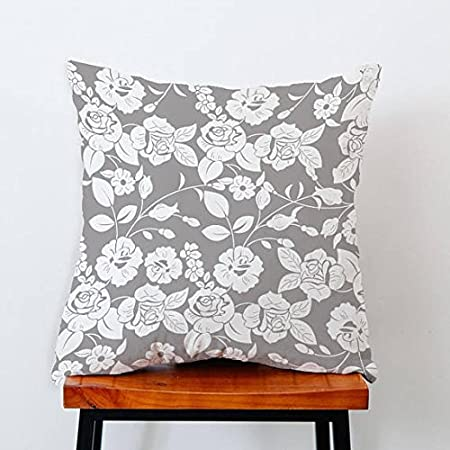 Beautiful White Flower Pillow Casegray Throw Cushion Pillow Covers