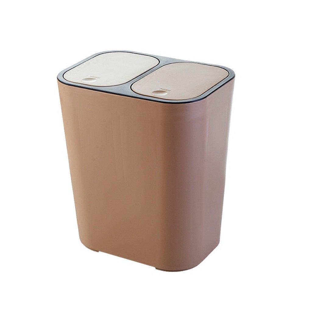 Hyzb La doppia copertina di tipo pressa può essere classificata come cestino della cucina creativa soggiorno rettangolare bidone della spazzatura (Colore : Beige)