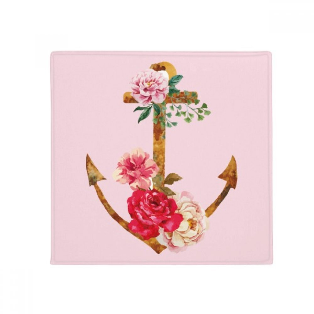 DIYthinker Watercolor pink Anchor Flower Plant Anti-Slip Floor Pet Mat Square Home Kitchen Door 80Cm Gift