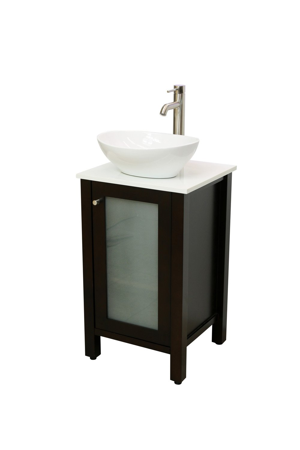 Windbay 19 Solid Wood Bathroom Vanity Set with White Quartz Stone Top, with Choice of Vessel Sink and Faucet