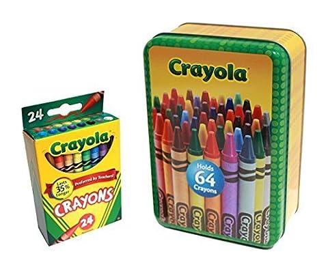 Large Crayola Storage Tin and Box of 24 Crayola Crayons (2 Item Bundle) (The Tin Box Company Small)