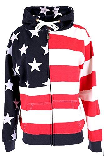 GreaterGood American Flag Zip-Front Sweatshirt (XXL) (Sweatshirt Flag Usa)