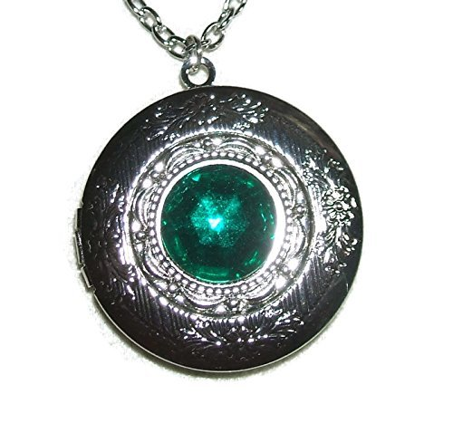 - EMERALD GREEN Czech Glass LOCKET NECKLACE Silver Pltd Pendant Rich Color Faceted Stone