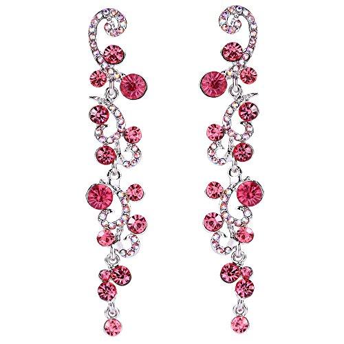EVER FAITH Women's Austrian Crystal Bridal Cluster Flower Wave Dangle Earrings Pink ()