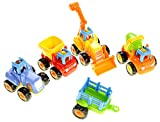 PowerTRC A Set of 4 Cartoon Play Vehicles for Toddlers - Dump Truck, Cement Mixer, Bulldozer, Tractor (Friction Powered)