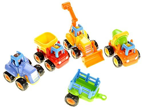 PowerTRC A Set of 4 Cartoon Play Vehicles for Toddlers - Dump Truck, Cement Mixer, Bulldozer, Tractor (Friction Powered) (Plastic Tractor)