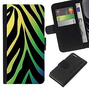 KingStore / Leather Etui en cuir / Apple Iphone 5C / Patrón de neón de la cebra