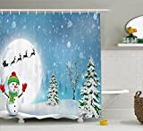 Cheap Ambesonne Christmas Shower Curtain by, Jolly Snowman under Full Moon Waving to Santa Claus with Reindeer Sleigh Kids, Fabric Bathroom Decor Set with Hooks, 70 Inches, White Blue