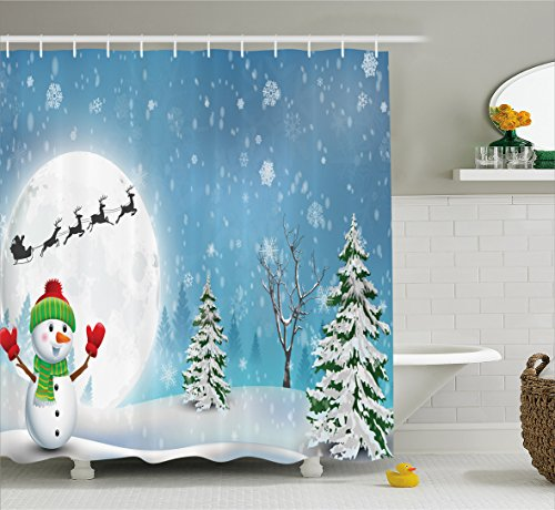 Christmas Shower Curtain Snowman Blue Bathroom by Ambesonne