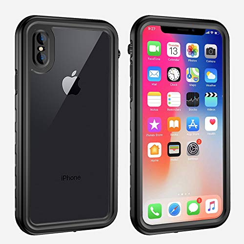 Yuker iPhone X/XS Waterproof Case, Anti-Scratch Built in Screen Protector, Full Body Protection, IP68 Certified with Face ID Dirtproof Shockproof Snowproof Case for iPhone X/XS¡Black/Clear¡ê? ()