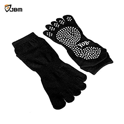 JBM Silicone Dots Yoga Socks (7 Colors) Non Slip Pilates Socks Cotton Breathable Grip Socks - One Size For Most - Five Toe Covered - Yoga Accessories For Yoga Pilates Barre Women - (One Pair For Sale)