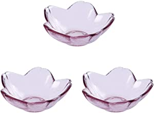 Yardwe 3pcs Seasoning Dishes Cherry Blossoms Shape Sushi Dipping Bowls Appetizer Plates Multi-functional Japanese Style Food Dipping Plates Seasoning Sauce Dishes for Restaurant