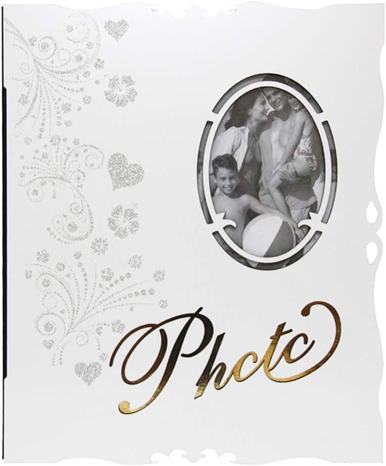 HUYYA 磁気スクラップブックアルバム - カップルクリエイティブギフトのためのスティッキーページ付きのファミリーフォトアルバム,white