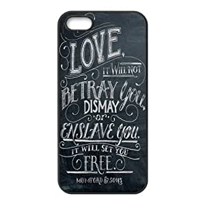 Mumford Sons Quotes Diy Design For iPhone 5/5s Hard Back Cover Case 54
