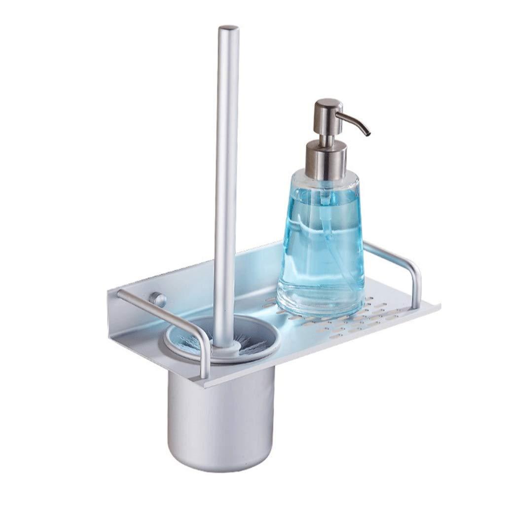 YXN Toilet Brush Holder Set Space Aluminum Bathroom Long Handle Toilet Toilet Brush Silver Cylindrical Brush Cup Cleaning Frame H34 cm