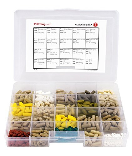 Monthly Pill Organizer with Large Compartments & Stay Tight Lid *FREE Emergency Contact Sticker and Medication Map Included! by Pill Thing